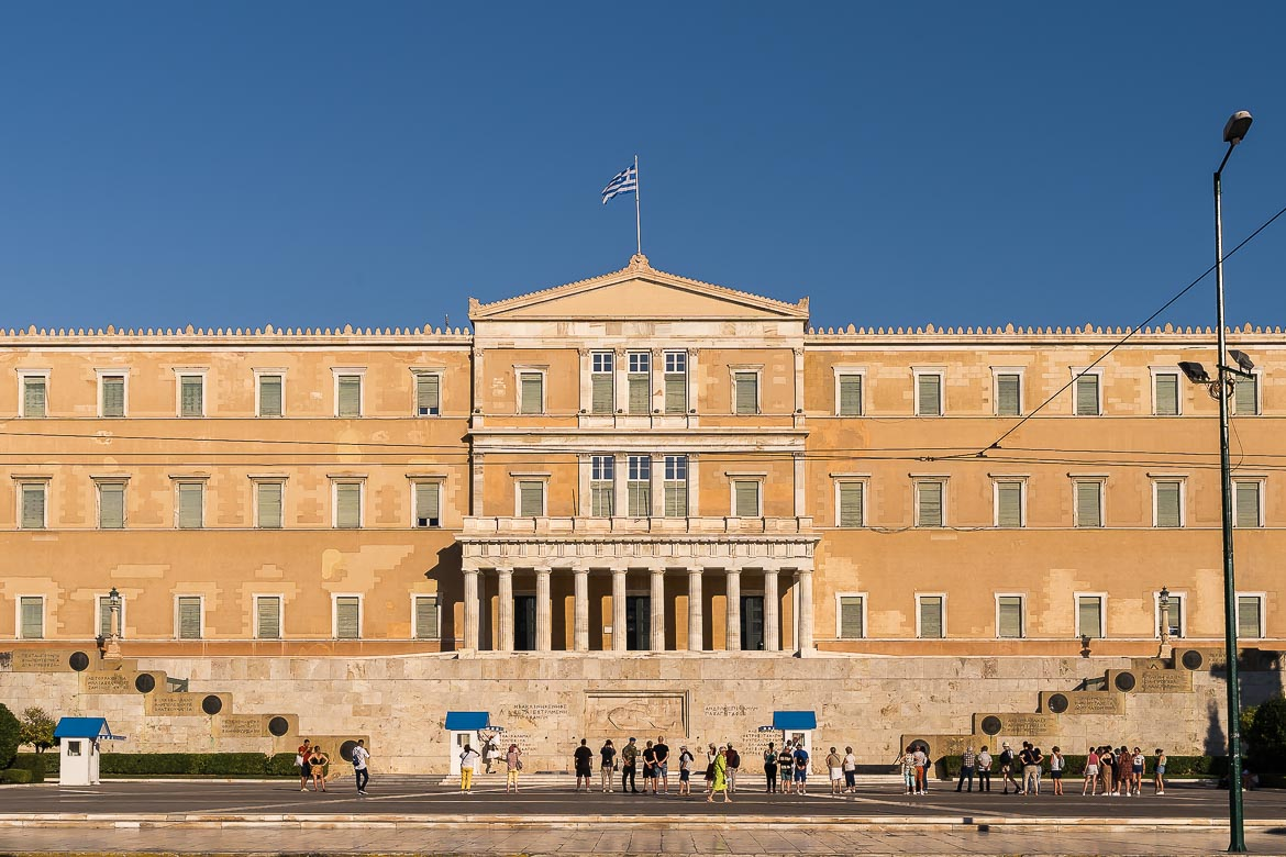 This image shows the Greek Parliament building in Syntagma Square.