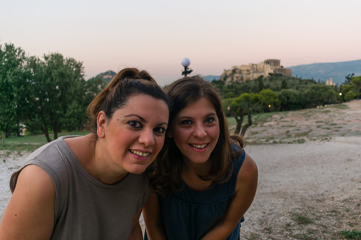 This image shows Maria and Katerina in Pnyx Hill and the Acropolis in the background.