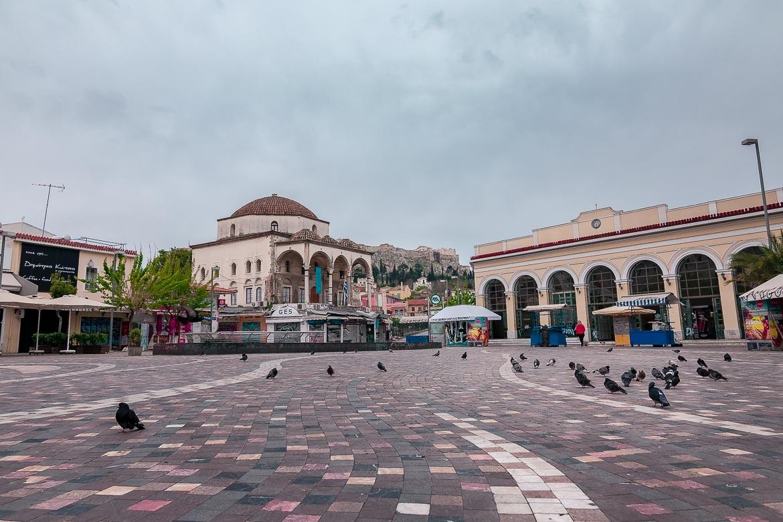 This image shows Monastiraki Square on a cloudy day.
