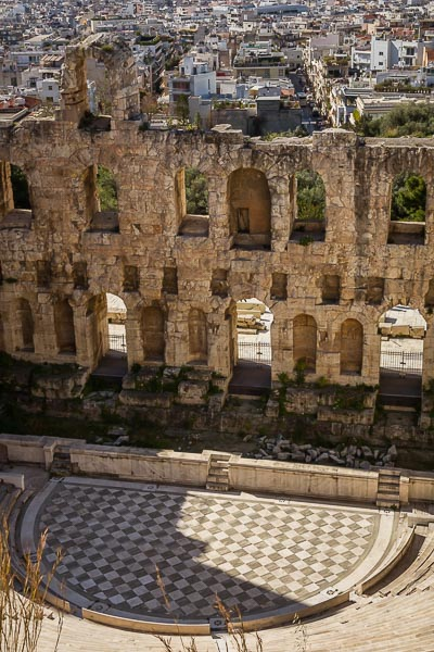 This image shows the Odeon of Herodes Atticus from above.