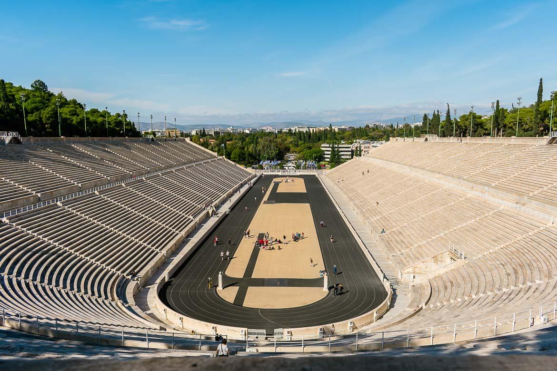 This image shows the Panathenaic Stadium from above.