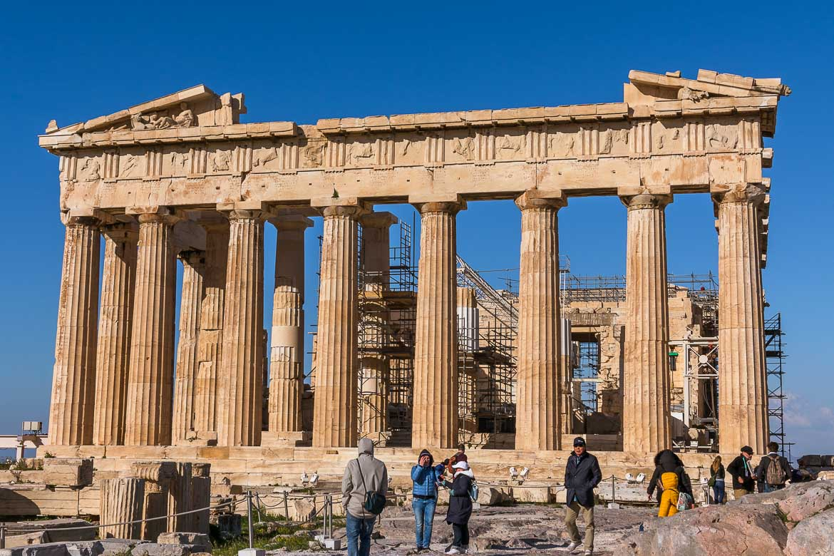 This image shows the Parthenon of the Acropolis, probably the most famous place to visit when you're seeing Athens in 3 days.