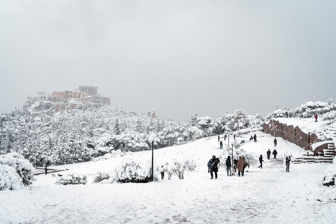 This image shows Pnyka and the Acropolis in Athens on a snowy day.