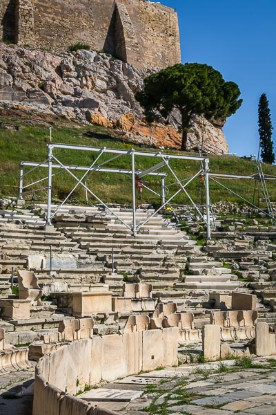 This image shows the Theatre of Dionysus in the south slope of the Acropolis.