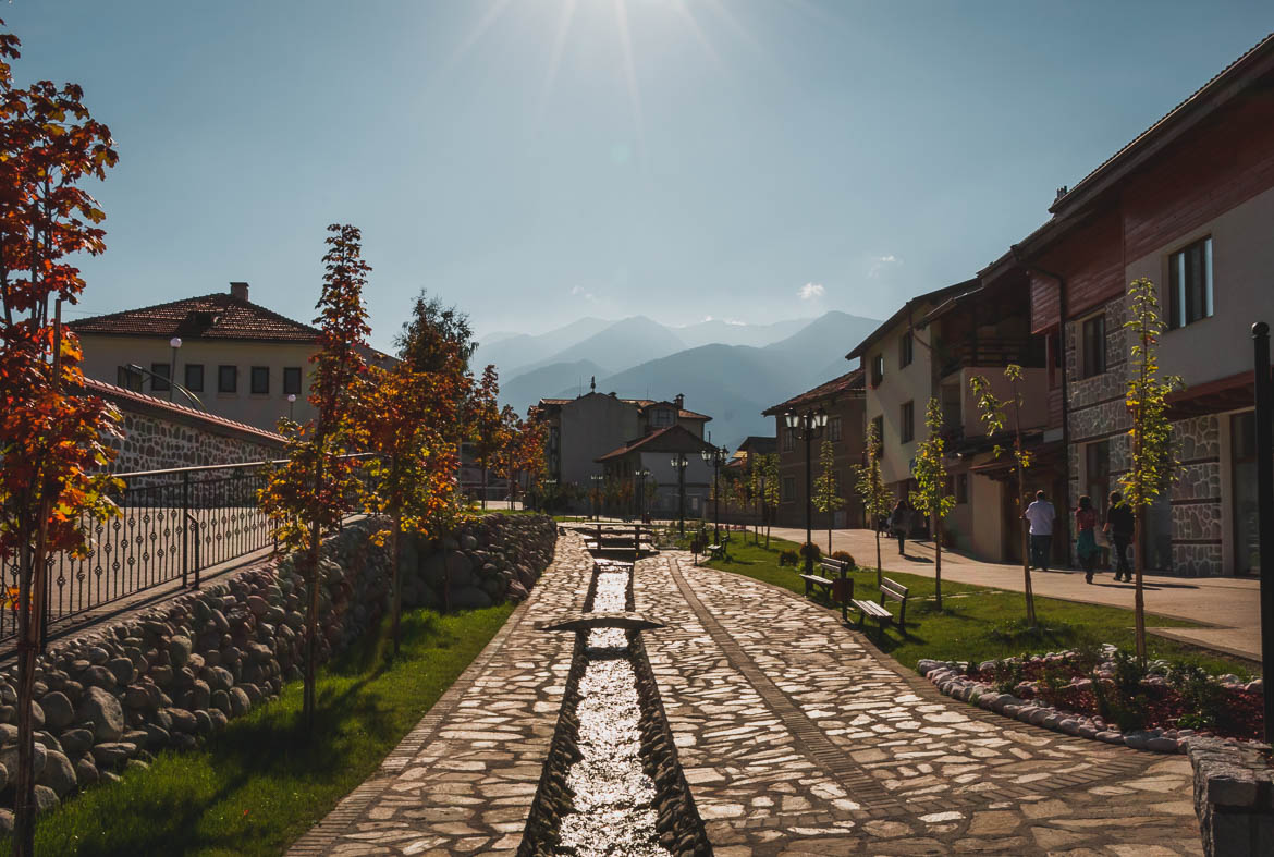 This photo shows Gotse Delchev street in Bansko Bulgaria. Top five things to do in Bansko apart from skiing.