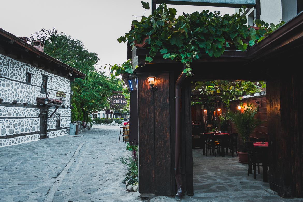 This photo shows a traditional restaurant, mehana, in Bansko Bulgaria. Top five things to do in Bansko apart from skiing.