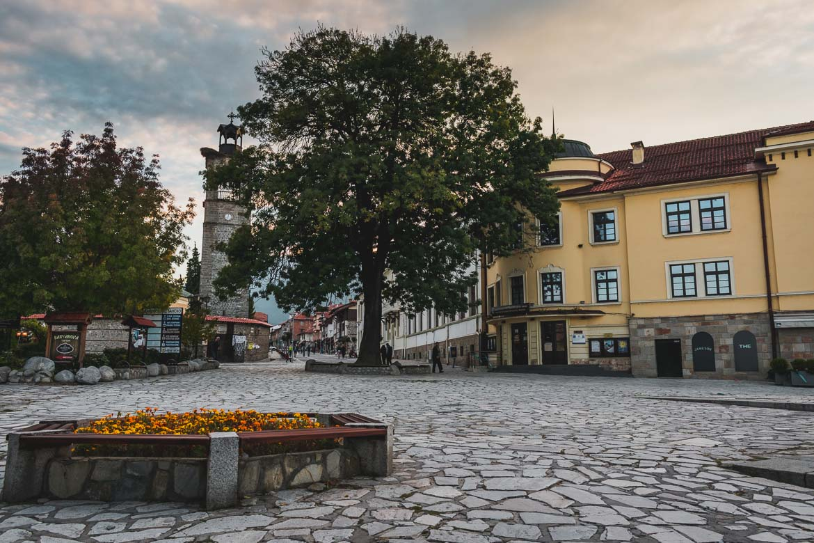This is a photo of the main square in Bansko Old Town, Bulgaria. Top five things to do in Bansko apart from skiing.