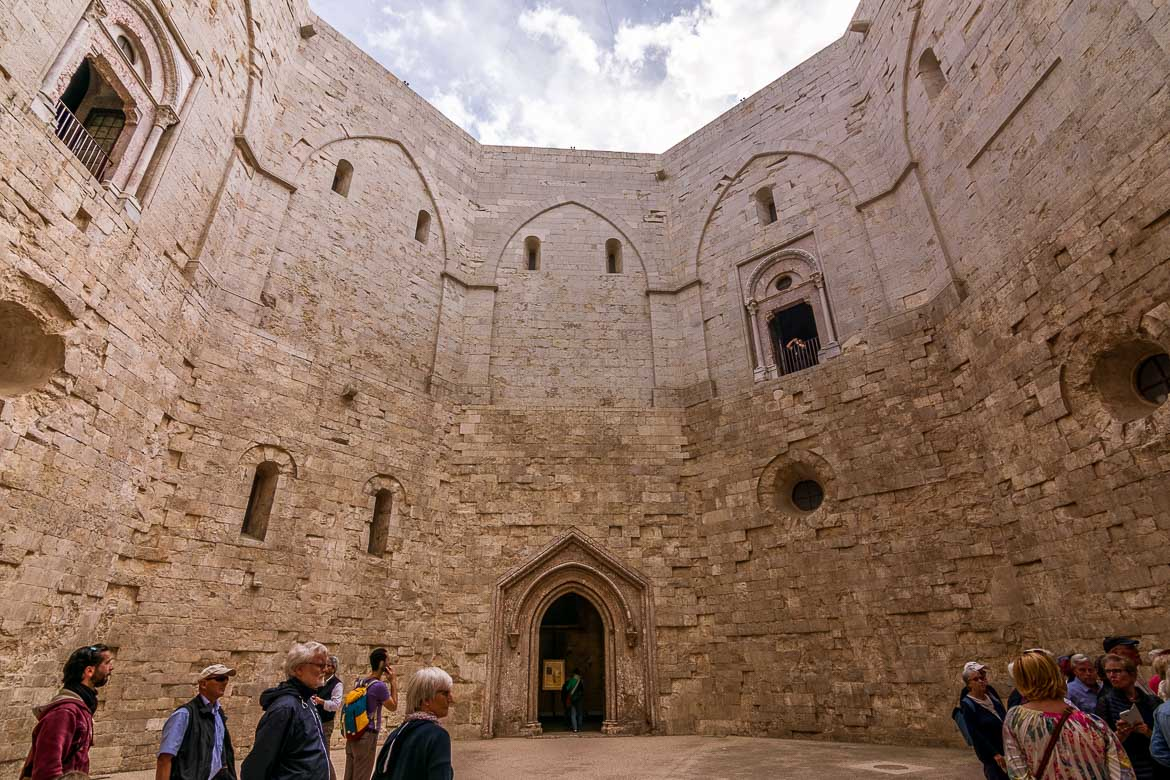 This photo was shot inside the octagonal interior courtyard at Castel Del Monte.