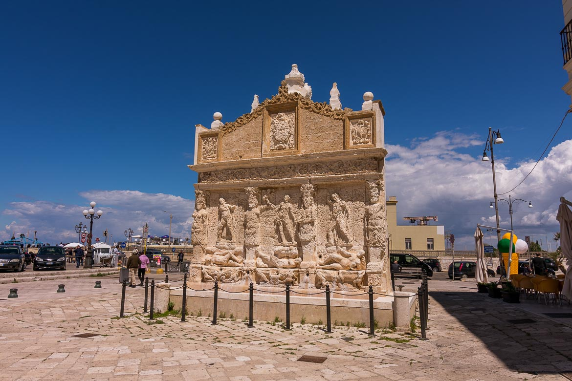 This is a close up of the Fontana Greca, the fountain, one of Gallipoli's major tourist attractions.
