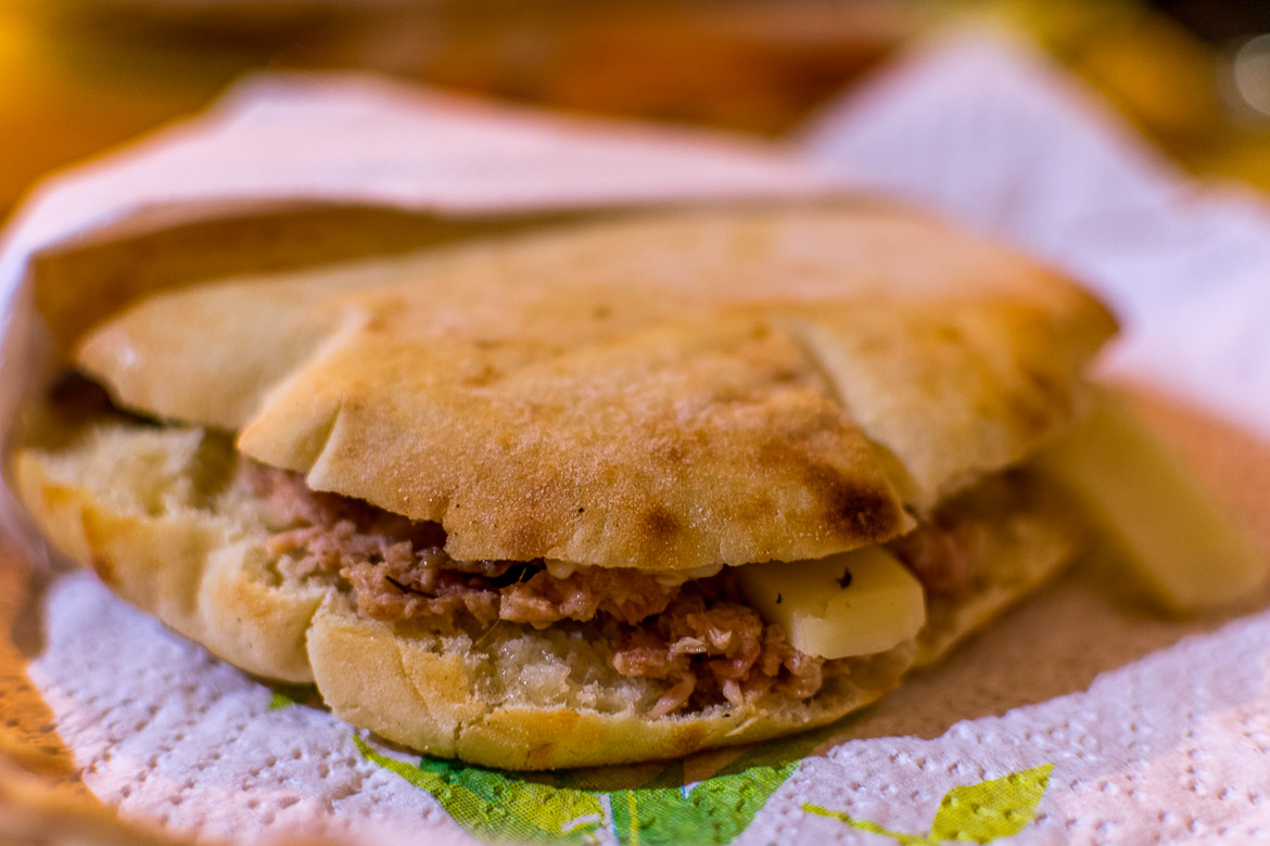 This is a close up of la puccia salentina, the typical sandwich of the Salento area.
