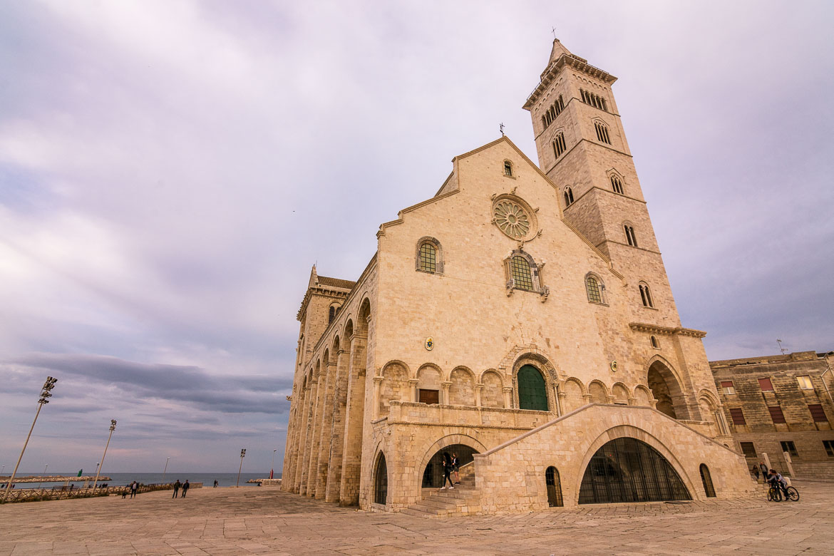 This is an up close of Trani Cathedral, the pale looking church by the sea.