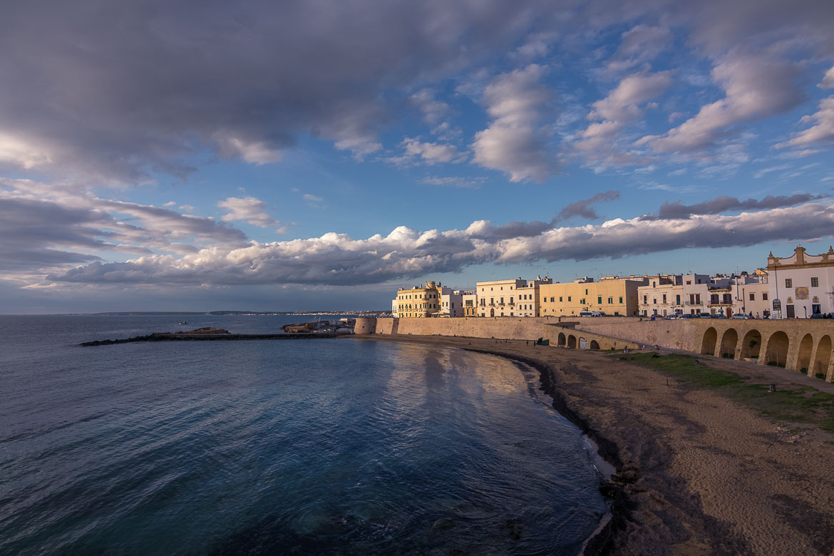 This is a shot of Gallipoli Beach with the historic buildings above it.