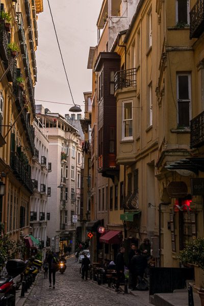 This is an image of Serdar-i Ekrem Street in Istanbul. It is a cobbled street lined with beautiful 19th century buildings. It is regarded as one of the prettiest streets in Istanbul.
