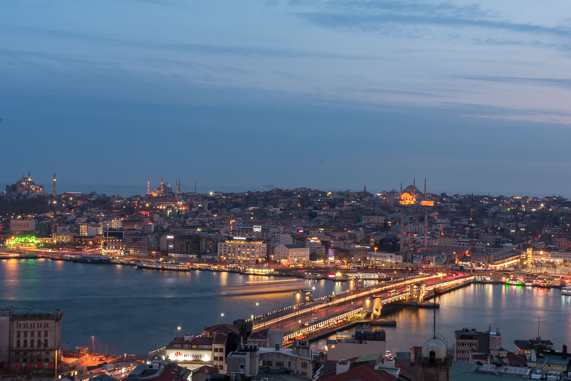 This is a panoramic view of Istanbul during sunset shot from the top of the Galata Tower.