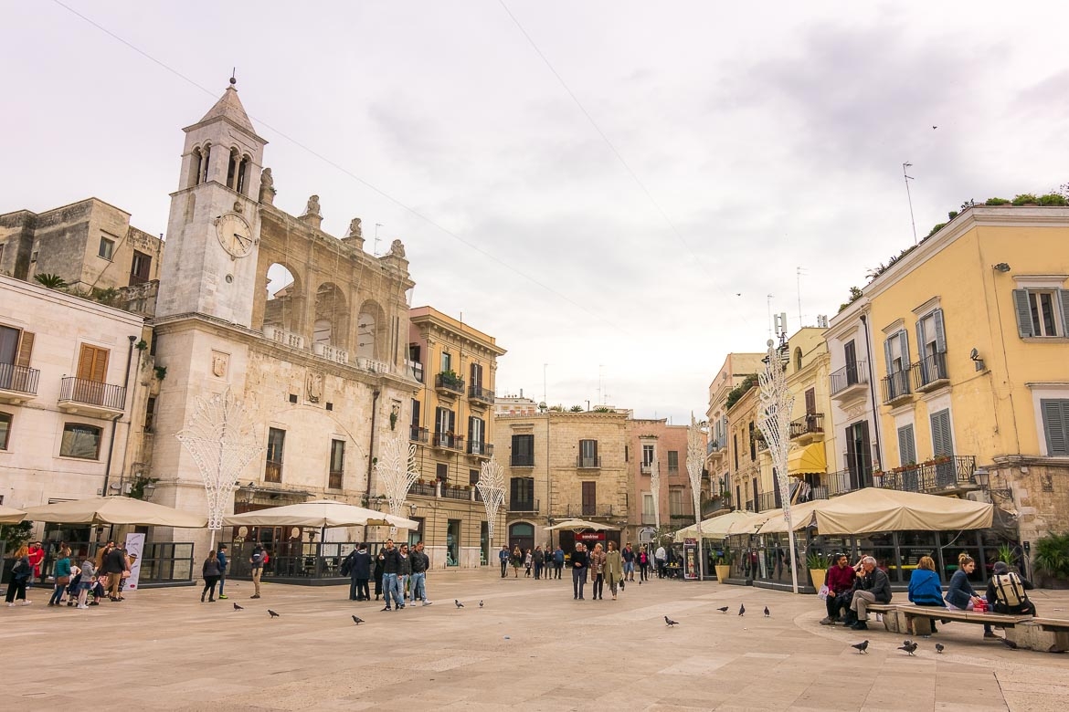 This photo shows a square in Bari Old Town.