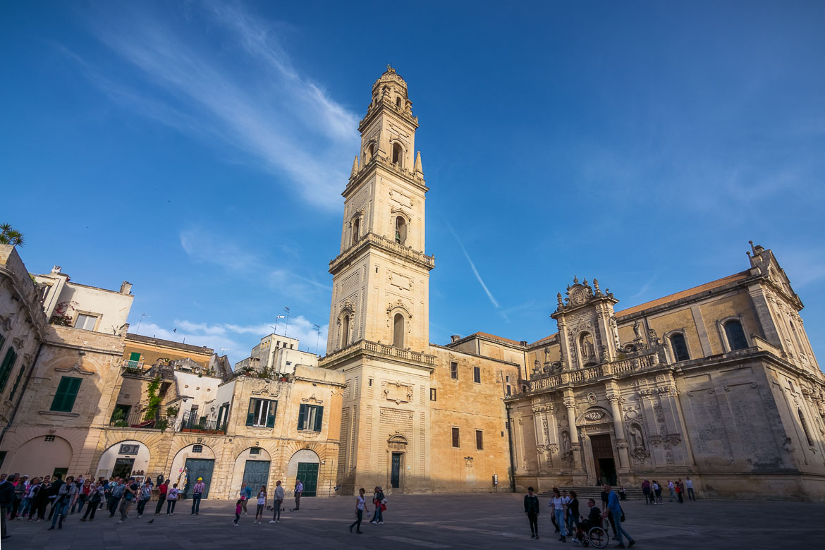This photo shows the main square in the historic centre of Lecce.