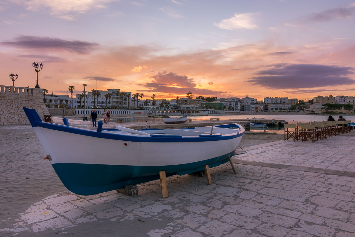 This is an image of Otranto seafront at sunset.