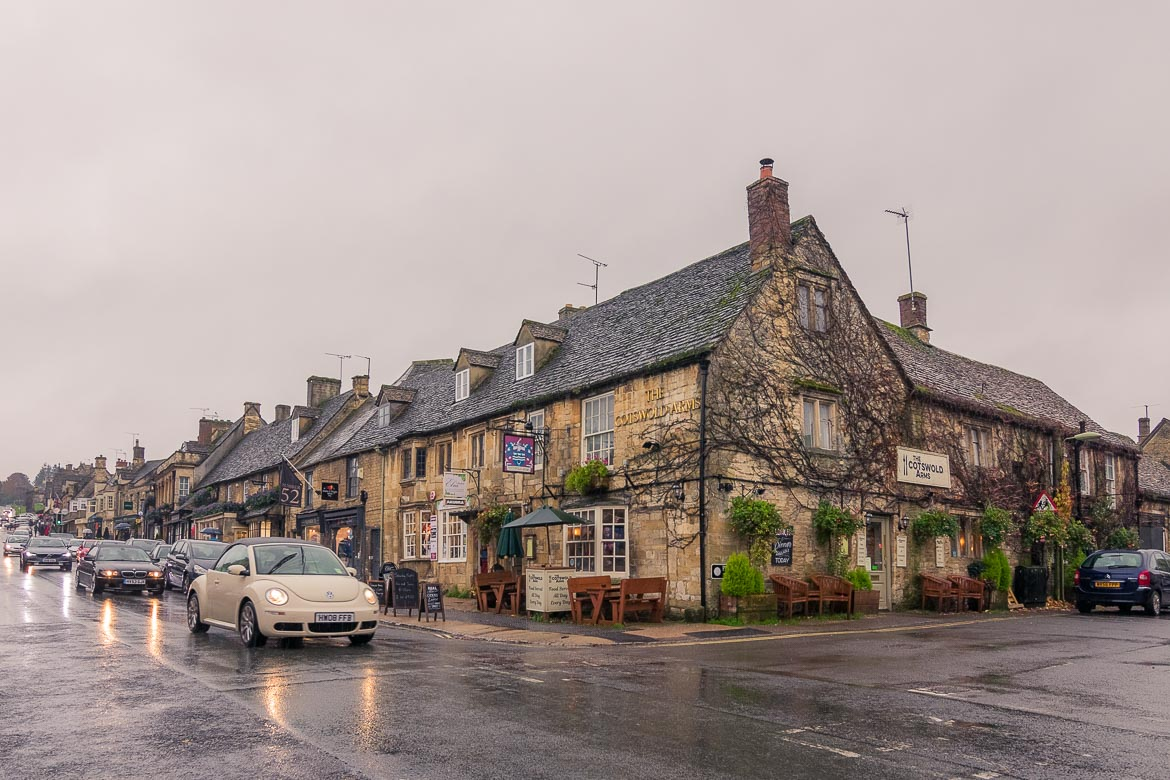 This is a shot of Burford High Street. The honey-coloured buildings look splendid even on a rainy day.
