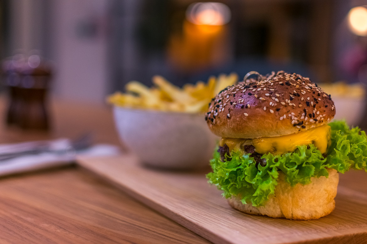 This is a close up of a burger at Feldon Valley.