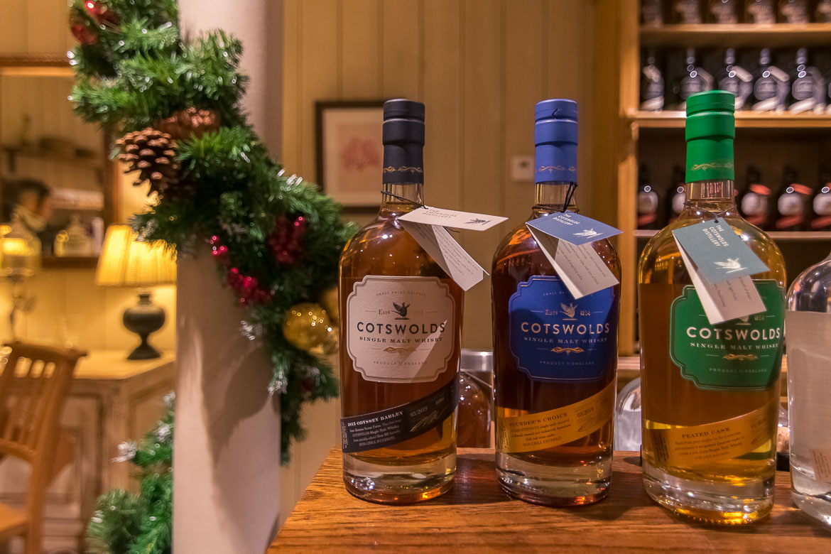 This is a close up of three of the spirits that the Cotswolds Distillery produces.