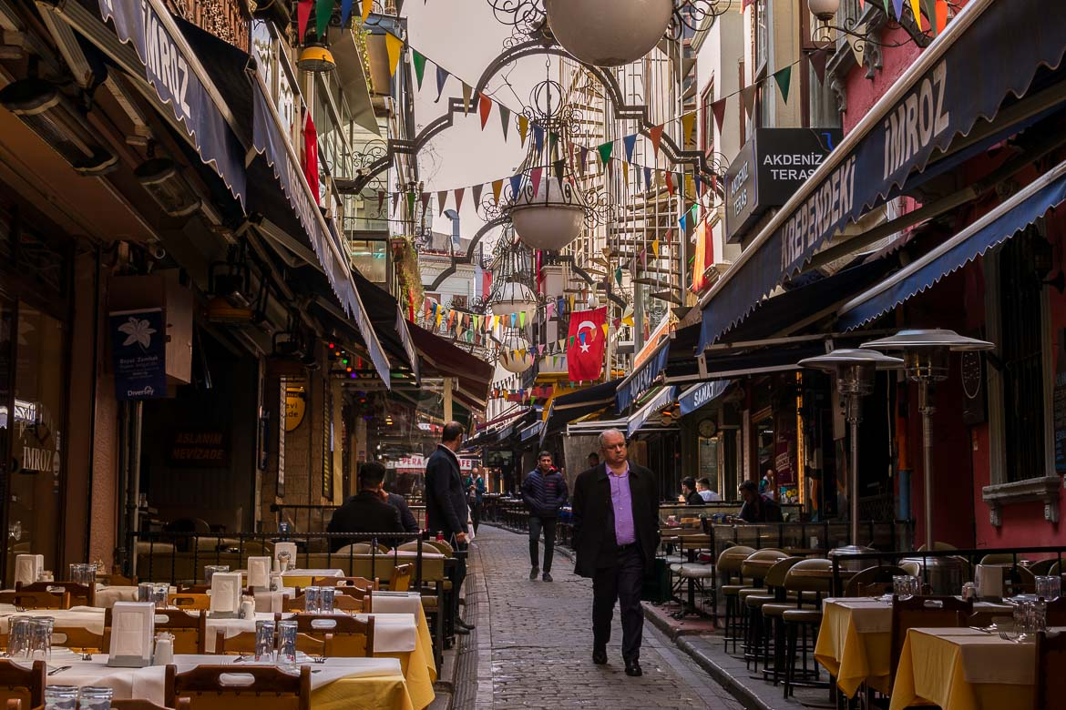 Nevizade Street in Beyoglu is very quiet in the morning but buzzing with life in the evening. A delicious food tour in Istanbul Turkey.