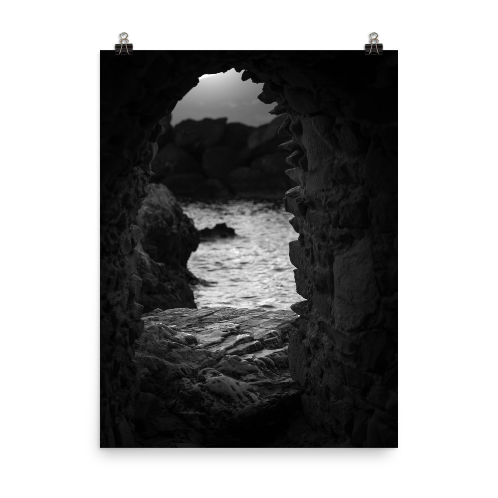 This is a black and white image of the sea at sunset as seen from the Venetian Castle in Naoussa Paros. This is our Black and White Seascape print, part of our collection of Greece prints, available for sale on our Print Shop!
