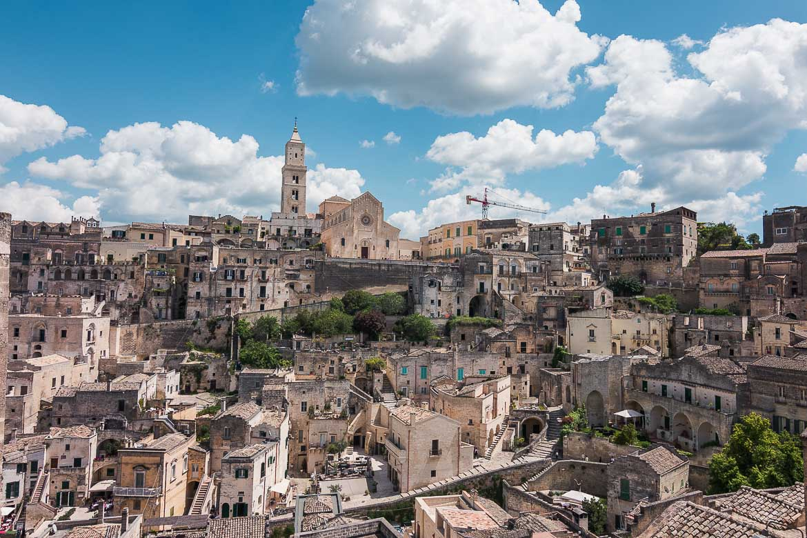 This image shows a panoramic view of Matera.