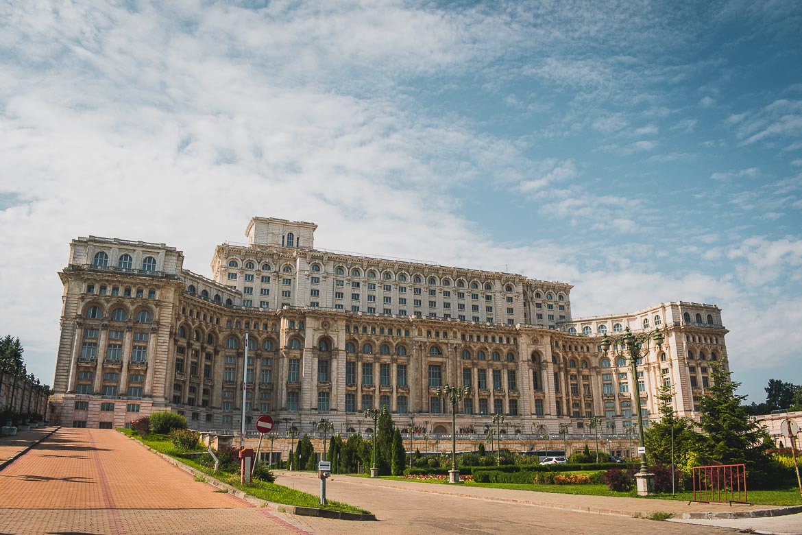 This photo shows the massive Palace of the Parliament, the second largest administrative building in the world. A visit there is a must and one of the top things to do in Bucharest, Romania.