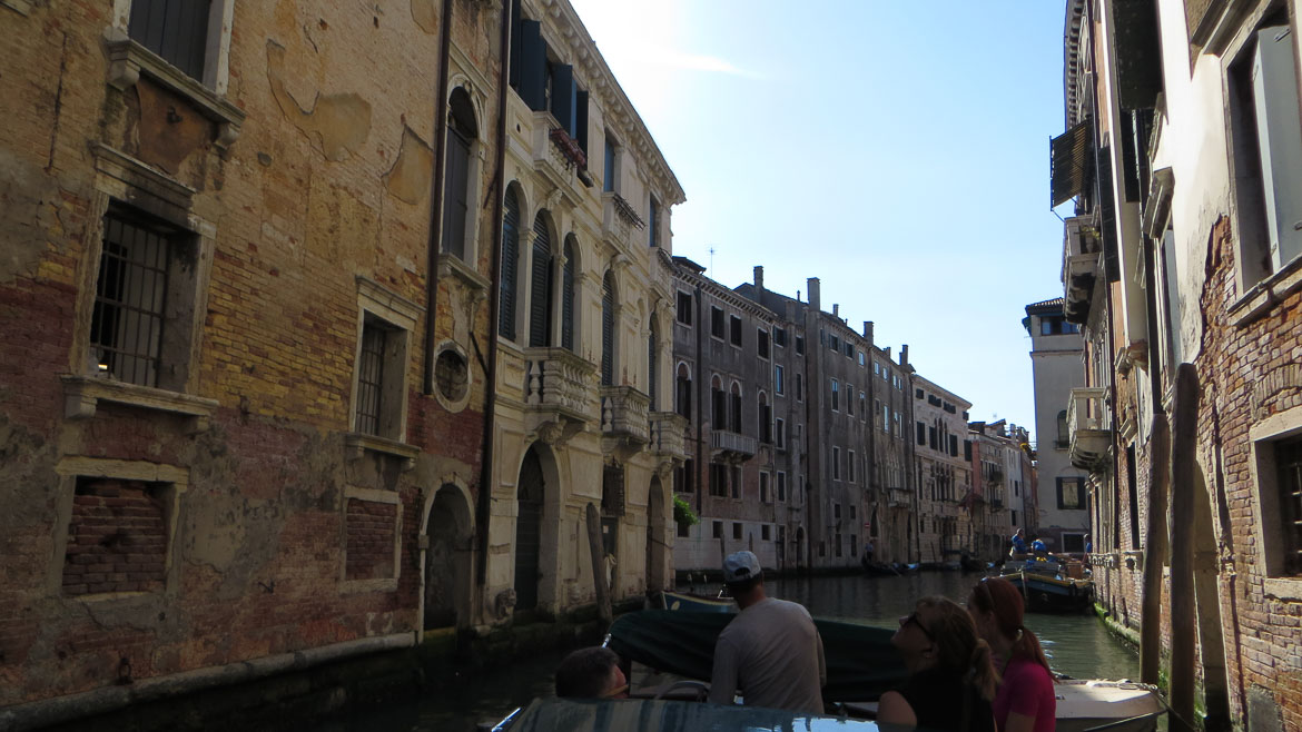 This photo shows a smaller canal during our Venice boat tour, one of the top things to do in Venice Italy.