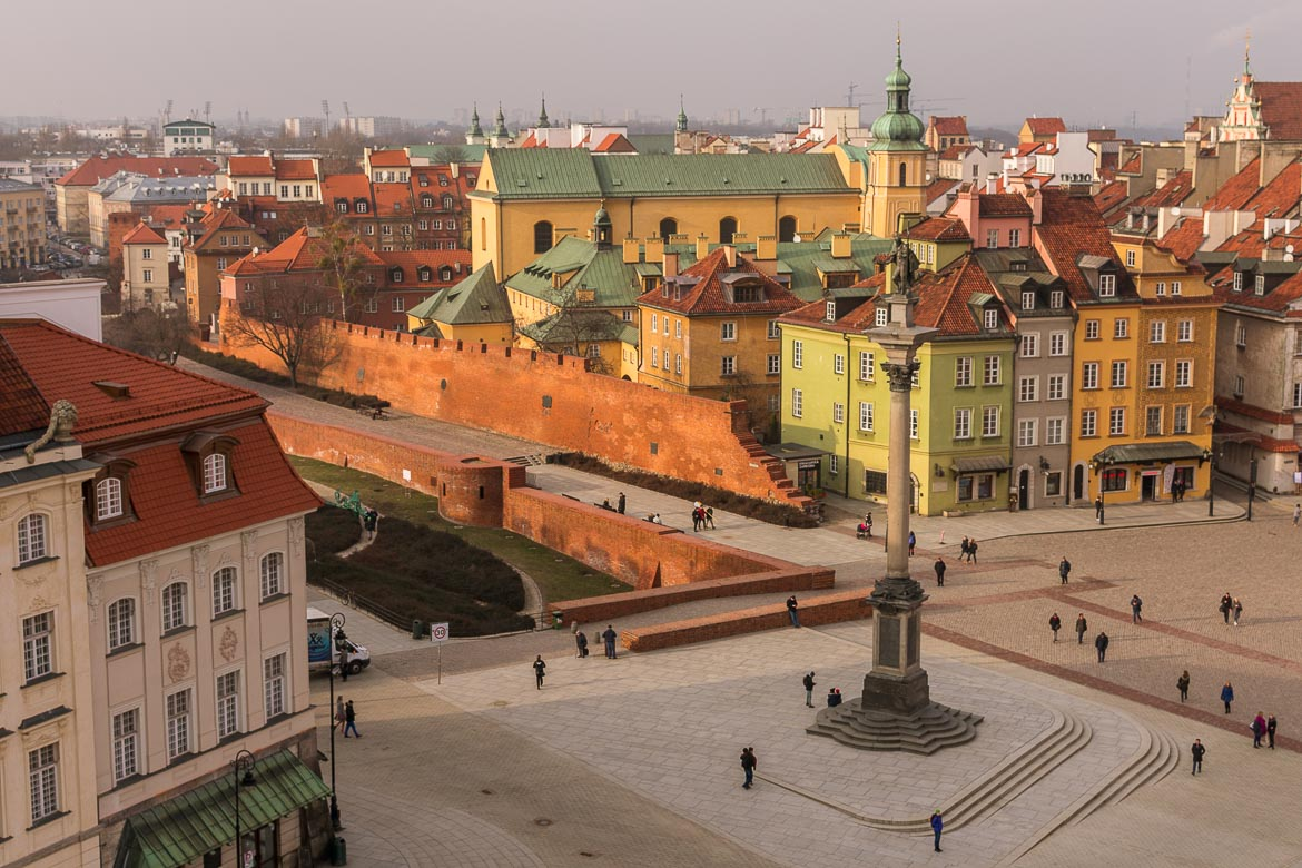 Castle Square in Warsaw Old Town as seen from the bell tower of St. Anne church. Winter in Warsaw. Top things to do and Warsaw city guide.