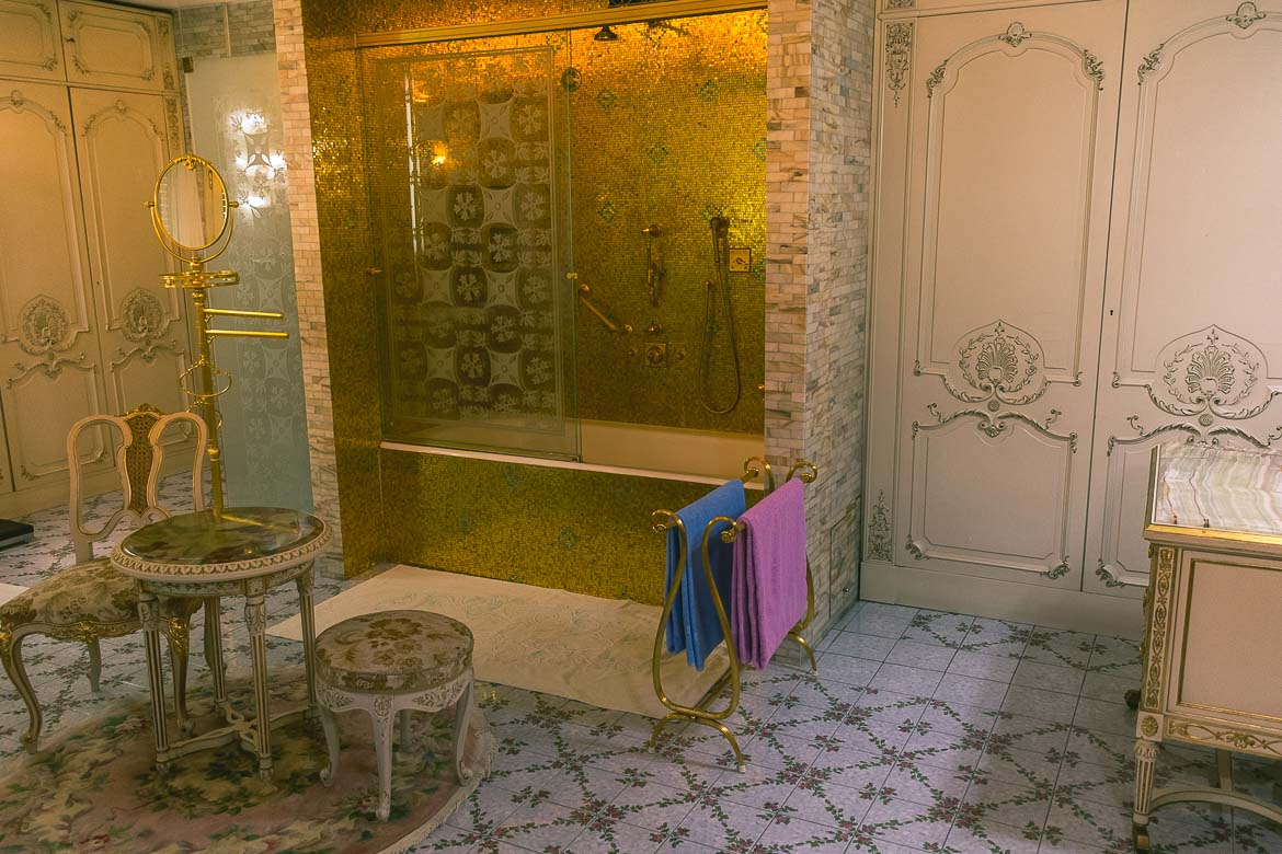 This photo shows one of the biggest and most luxurious bathrooms in Ceausescu residence in Bucharest, Romania.