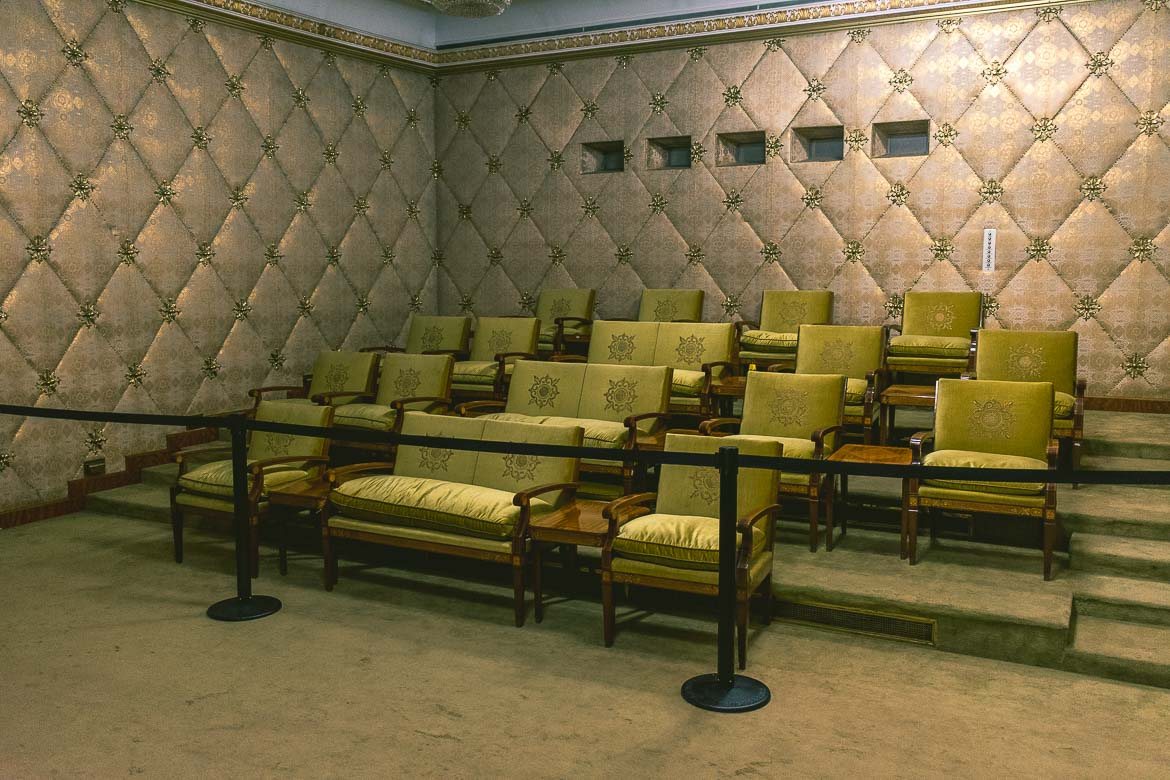 This photo shows the private cinema in Ceausescu residence, Bucharest, Romania.