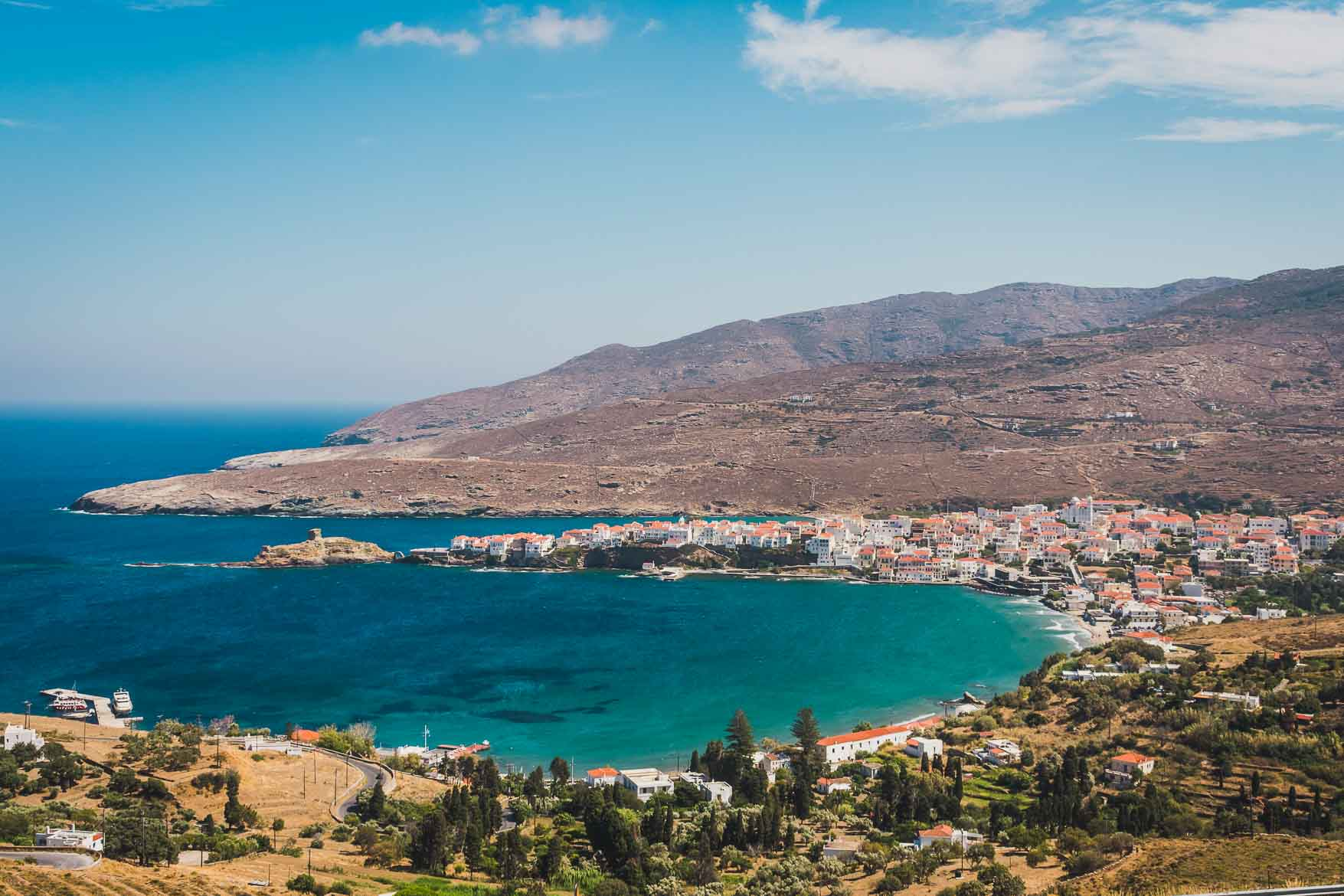 This is a panoramic picture of Chora andros, Cyclades, Greece. Andros Routes offer everyone unique hiking opportunities on one of the most beautiful greek islands.
