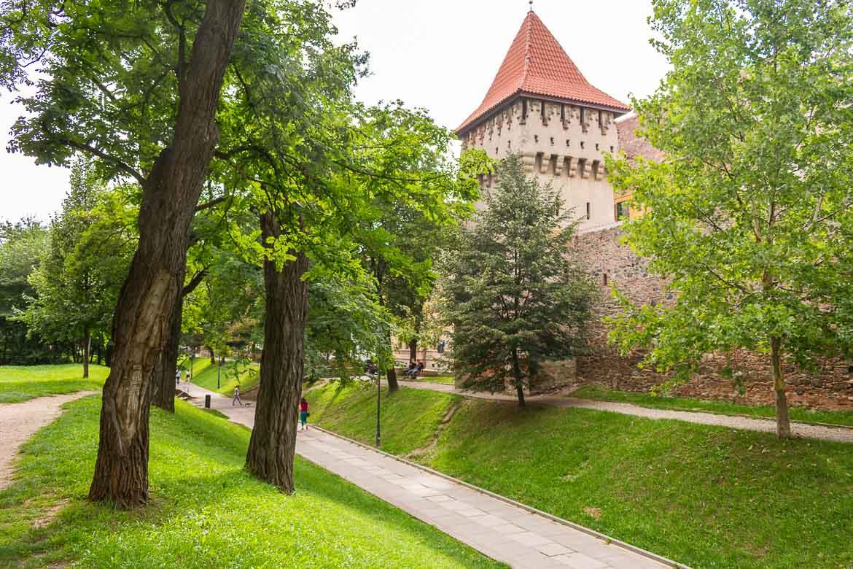 Strada Cetatii in Sibiu Romania runs along the old city walls. 11 amazing things to do in Sibiu Romania.