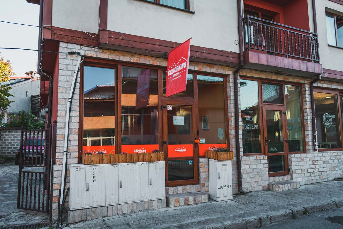This photo shows the entrance to the CoWorking Bansko space.