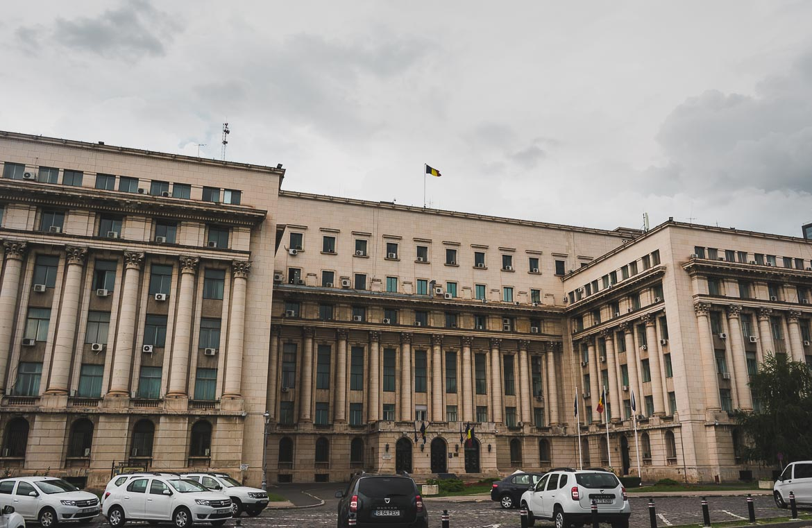 This photo shows the former Communist Party Headquarters building in Revolution Square, Bucharest, Romania. Learning about the country's recent past is one of the best things to do in Bucharest.