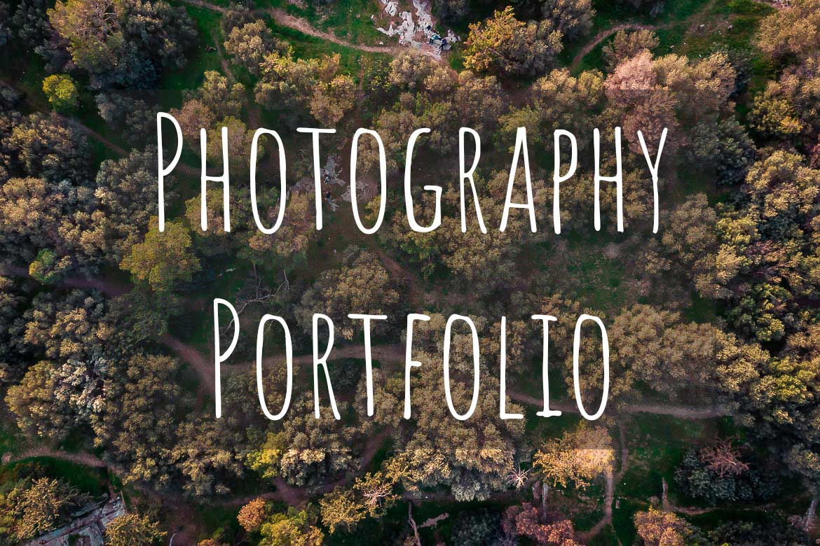 This is a drone shot of trees from above. There's overlay text that reads Photography Portfolio.