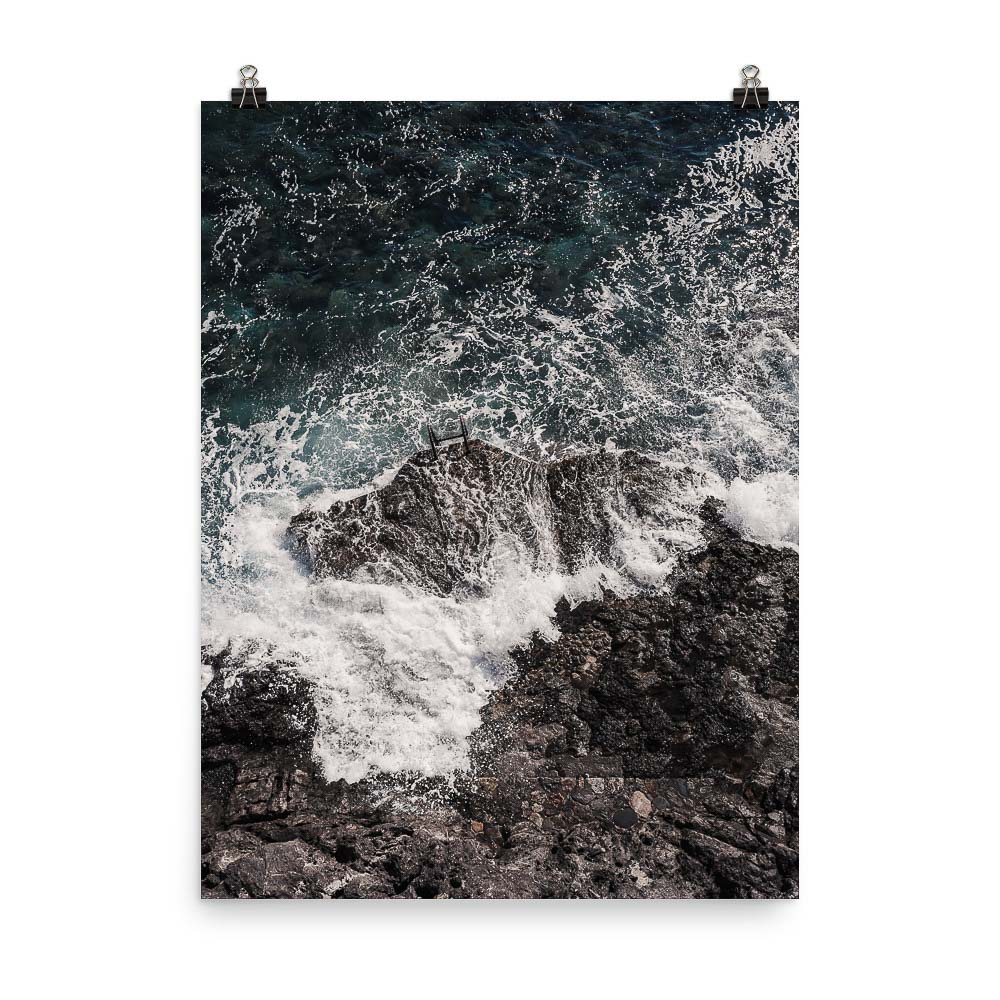 This image shows huge waves crashing on black rocks in Monemvasia Greece. This is our Crashing Waves Print, part of our collection of Greece prints, available for sale on our Print Store!