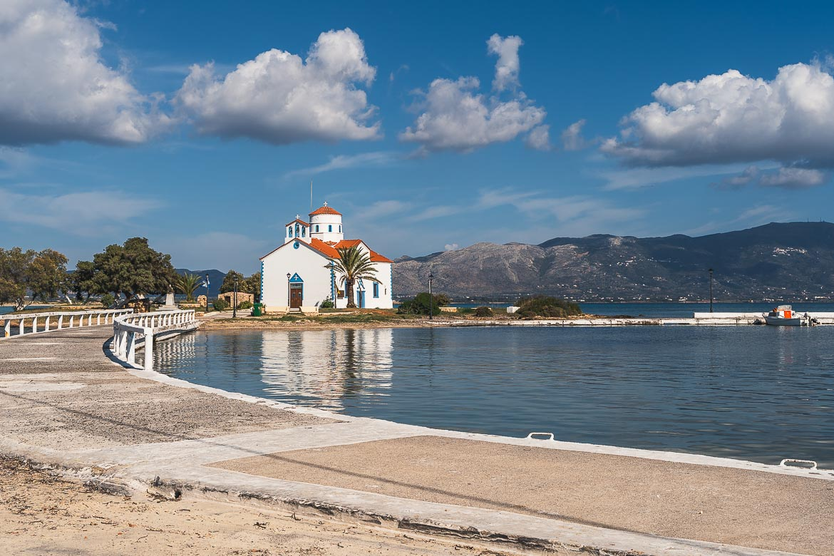This image shows the causeway that leads to Agios Spiridonas, a traditional church in the heart of Elafonisos Town.