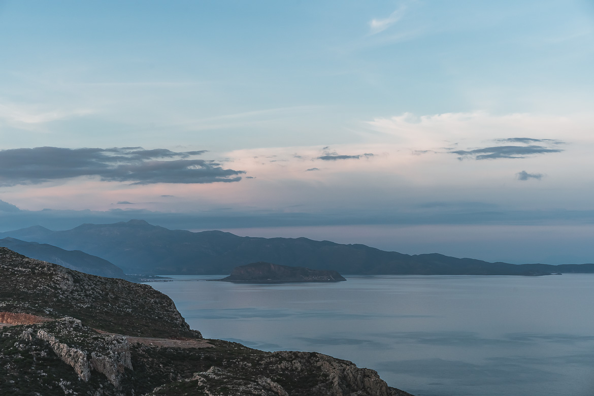 This photo shows the gorgeous view to Monemvasia Castle from the New Road that connects Monemvasia to Elafonisos Greece.