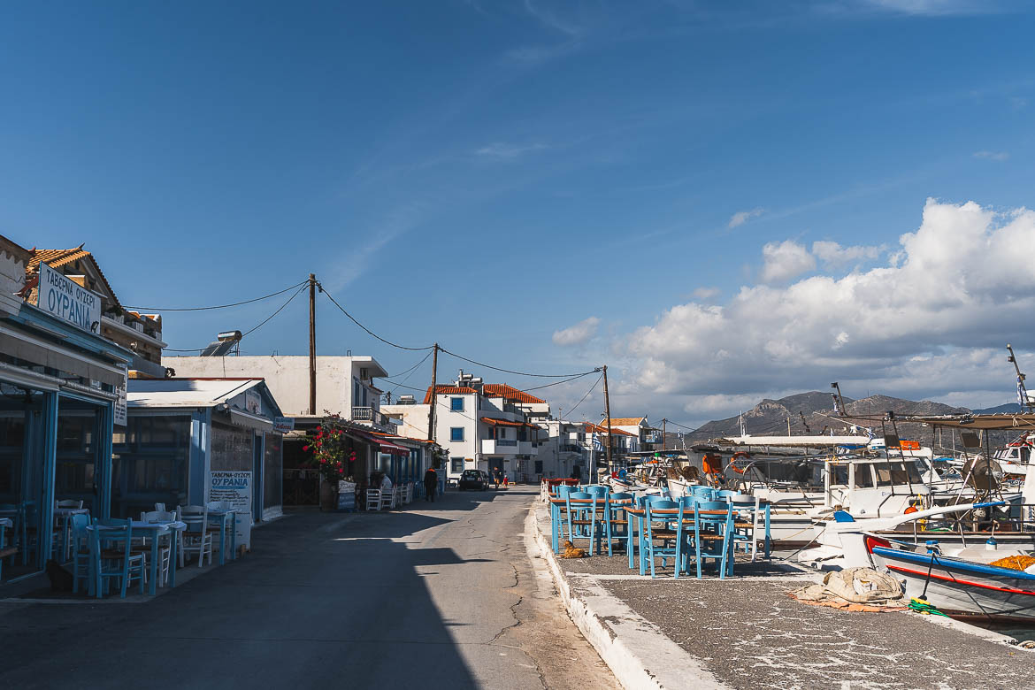 This image shows the promenade of Elafonisos Town in absolute peace and quiet.