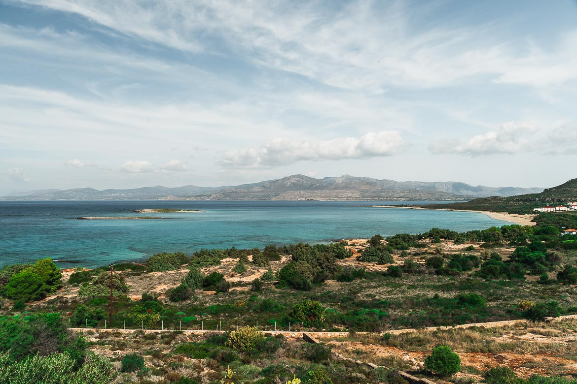 This is a panoramic shot of Ta Nisia Tis Panagias Beach with the islets visible off the coast. This shot was taken from the traditional restaurant on the hill overlooking the beach.