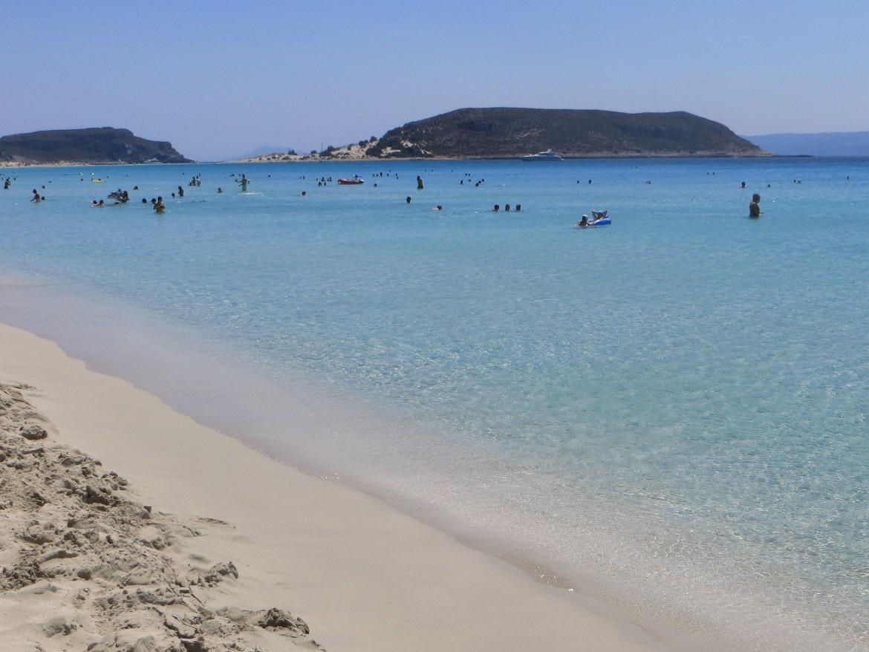 Simos beach Elafonisos. Day trip from Monemvasia. Summer in Greece.