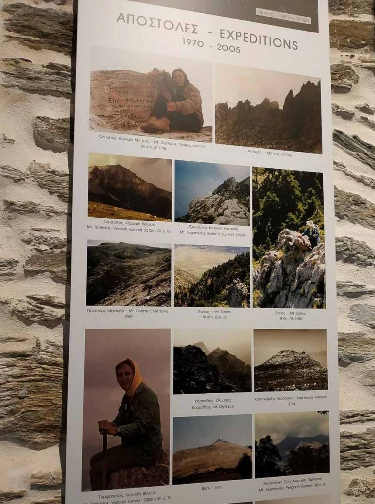 This photo shows pictures from the expeditions of Elli Stamatiadou. They are displayed at Agia Irini monastery on Andros Island, Cyclades, Greece. 1st on foot walking festival.