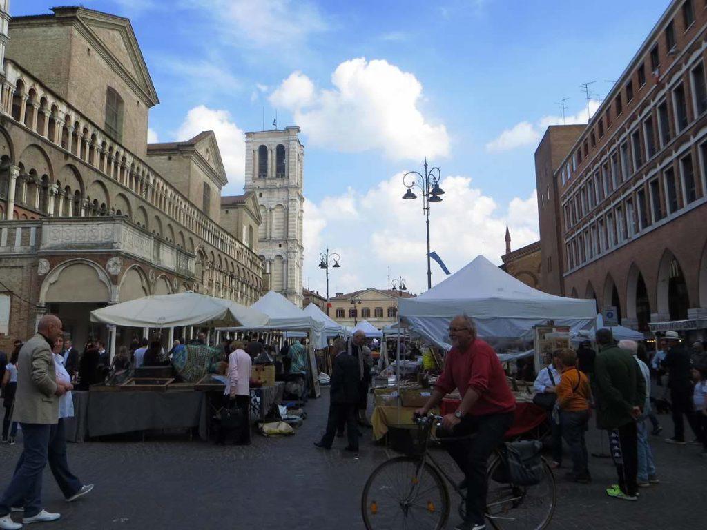 Ferrrara Emilia Romagna Italy Duomo Piazza Cattedrale street market