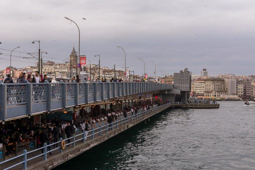 Iconic Galata Bridge. A delicious food tour in Istanbul Turkey.