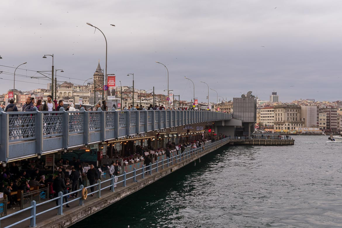 Iconic Galata Bridge. A delicious food tour in Istanbul Turkey.