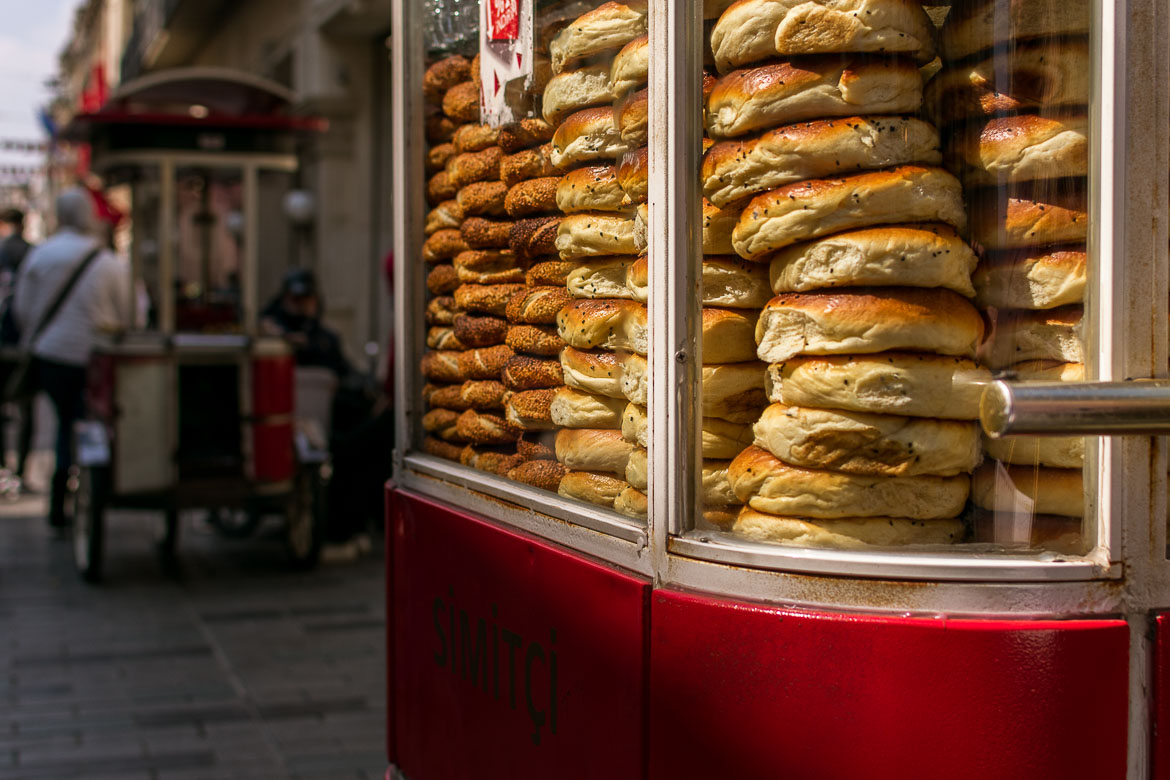 Food carts loaded with simit and acma are everywhere on Istiklal Street and the rest of the city. A delicious food tour in Istanbul Turkey.