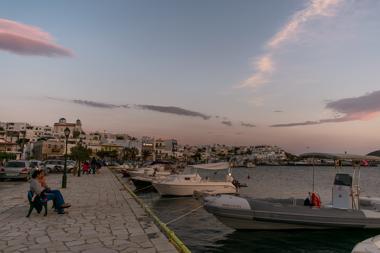 The beachside promenade in Gavrio at sunset.