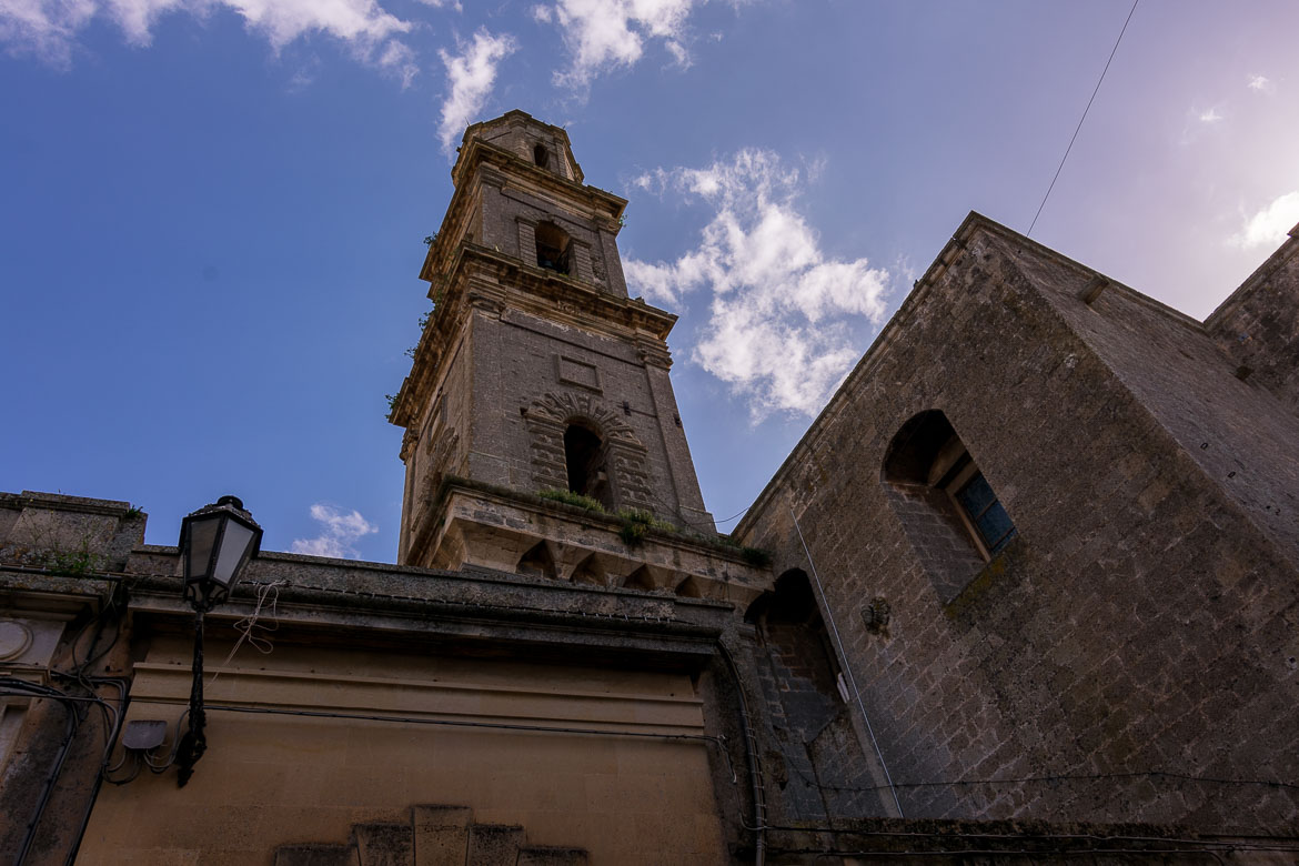 This is a close up of a bell tower in Calimera.